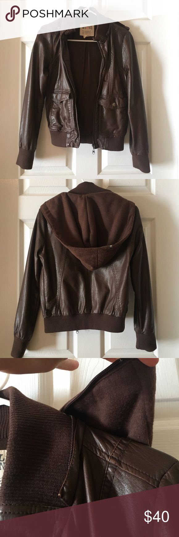 Billabong Bomber Jacket Billabong faux leather bomber jacket! In great condition with removable hoodie! Jackets & Coats