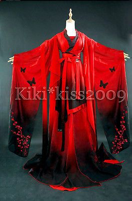 China-Gothic-Kimono-Han-Fu-Chiffon-Fantacy-Dress-Red-Black-Costume