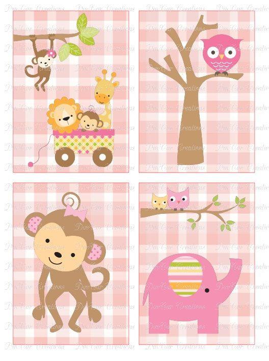 Baby Girl Nursery Prints Wall Art - Set of 4 - Safari, Zoo, Jungle, Owl, Monkey, Elephant, Lion