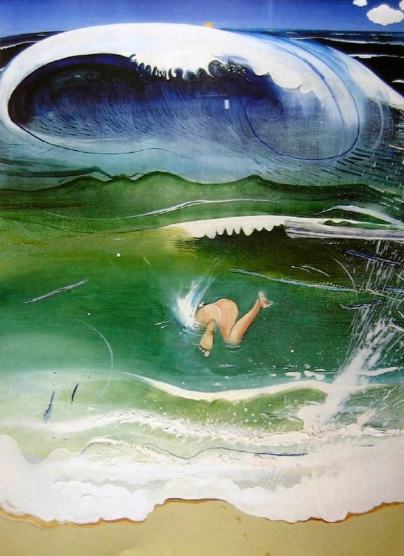The dive, Bondi. Brett Whiteley. Intriguing how he gets a Japanese feel in his shapes & brushwork, the wave reflects the bottom of the diver and the foam on the sand.