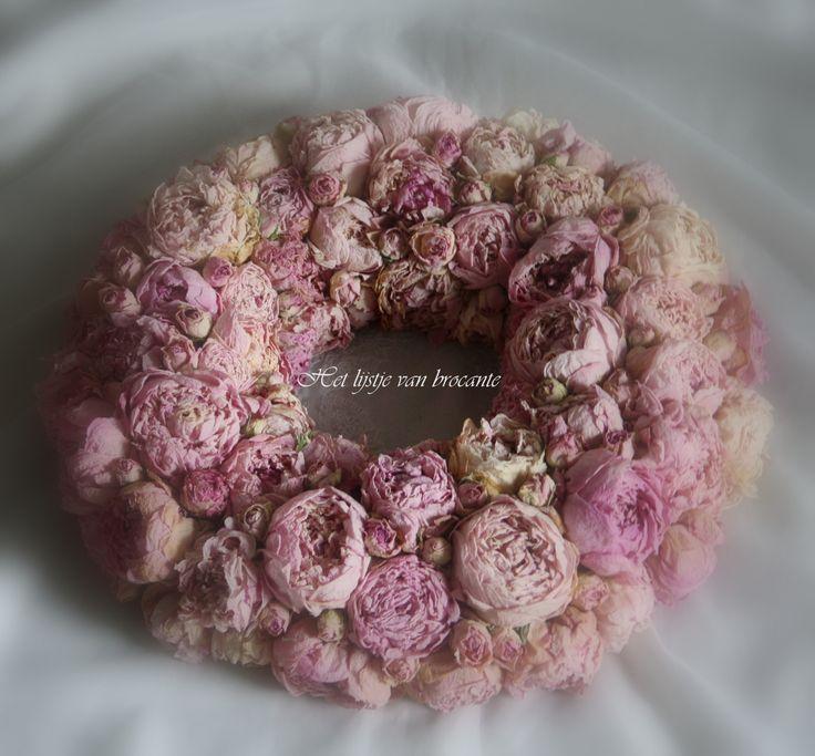 Homemade dried peony wreath....