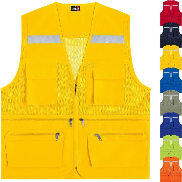 Hi Vis High Viz Visibility Multi Pockets Safety Mesh Vest Reflective Waistcoat #hellobincom