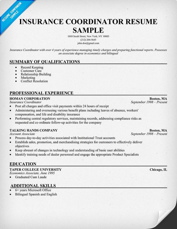 Insurance Coordinator Sample (Resumecompanion.Com) | Resume