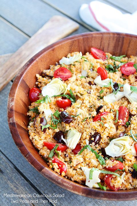 Mediterranean Couscous Salad Recipe on twopeasandtheirpod.com A quick and easy salad recipe that is perfect for parties!