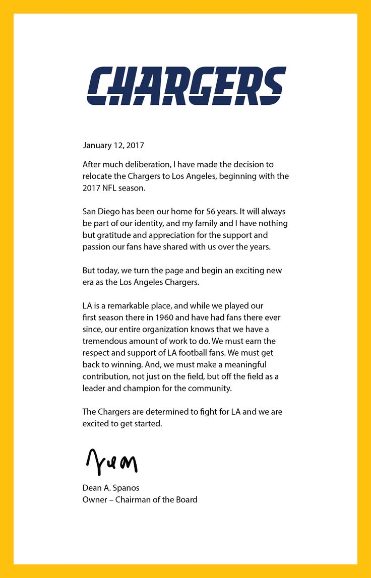 A letter from Dean Spanos