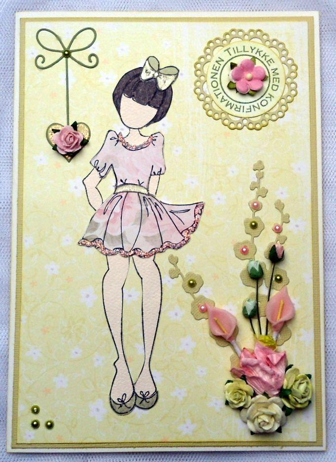 konfirmationskort pige julie nutting stamp