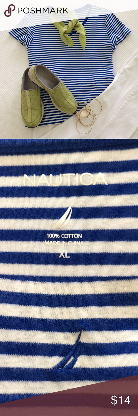 COBALT BLUE STRIPED V-neck knit top. EUC Versatile cobalt knit top with v-neck and short sleeves    A fresh look when paired with white. EXTRA FREE ADDITION. cute polka dot chiffon square neck scarf that can also be tied onto your purse. NAUTICA Tops Tees - Short Sleeve #Lookmarinero