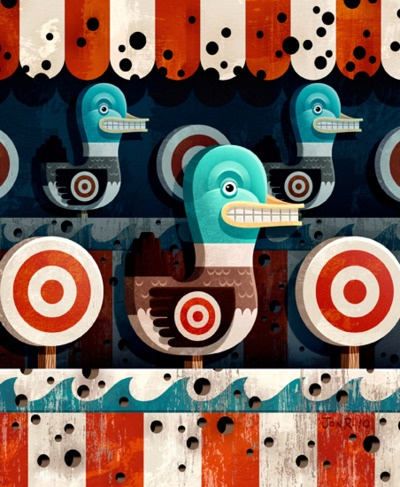 """Jon Reinfurt is an illustrator based in Audubon, NJ. His portfolio is full of sharp shapes, bold colours and a hint of texture - exactly the sort of graphic aesthetic I love. This piece is called """"Lucky Duck""""."""