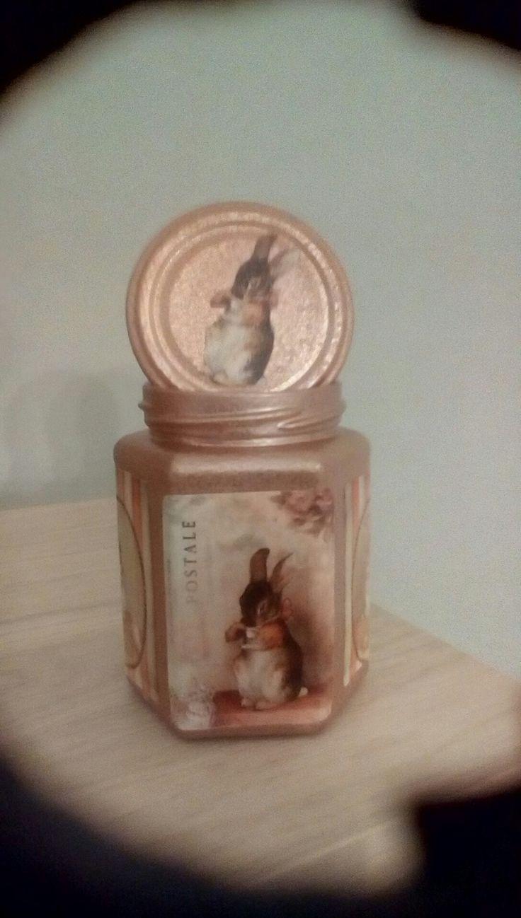 Clear jar into old fashioned bunny  storage jar.