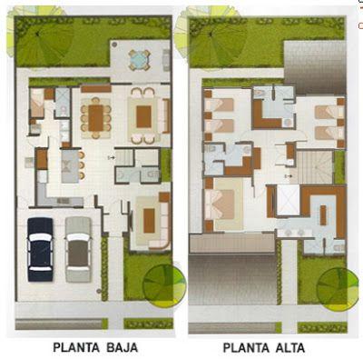 Planos de Casas y Plantas Arquitectónicas de Casas y Departamentos: 10 metros de frente