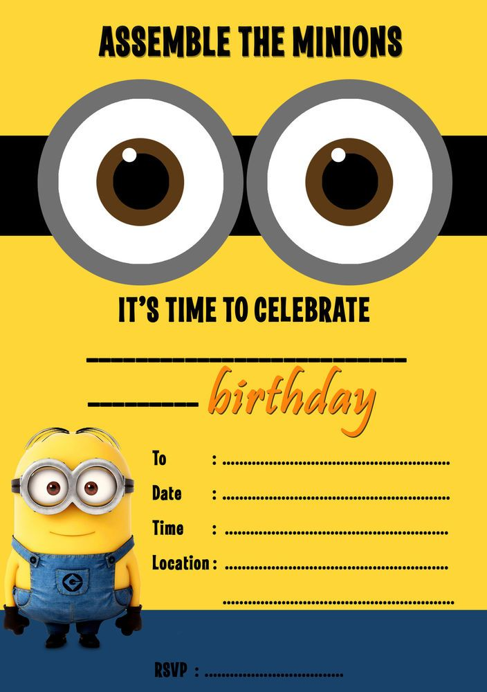DESPICABLE ME MINIONS PARTY INVITATIONS KIDS,CHILDRENS INVITES BIRTHDAY A5