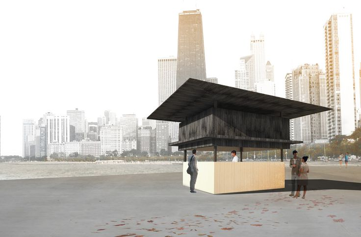 Using a hoist mechanism, combined with linear rails, the kiosk cover moves up to reveal a service counter that is brightly lit for night and day functions. — Doo-mm | Cambridge, USA — Chicago Architecture Biennial Lakefront Kiosk Competition