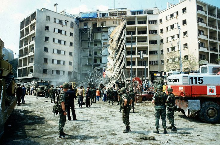 The April 18 1983 United States embassy bombing was a suicide bombing in Beirut Lebanon that killed 63 people including 17 Americans [1988  1308]