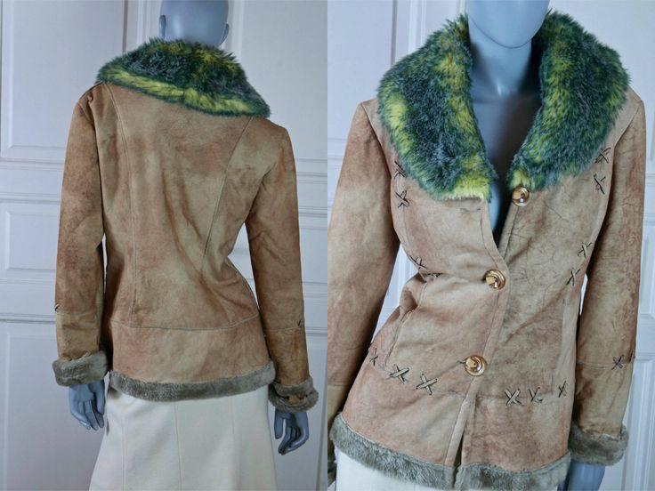 European Vintage Faux Suede Jacket w Faux Fur Collar, Tan Fake Suede Leather Coat w Blue Yellow Fake Fur Collar: Size 6/8 US, Size 10/12 UK by YouLookAmazing on Etsy
