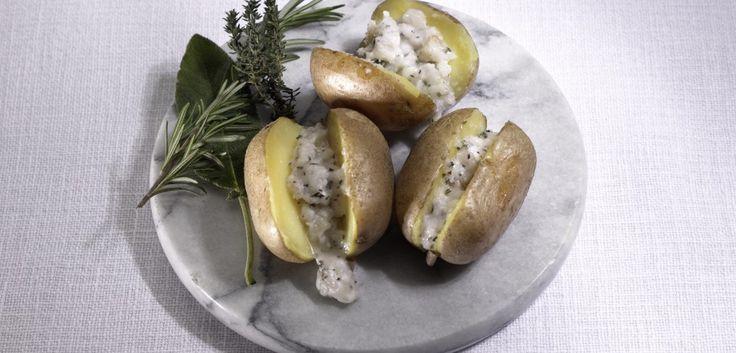 Piccole jacket potato con gras pistà