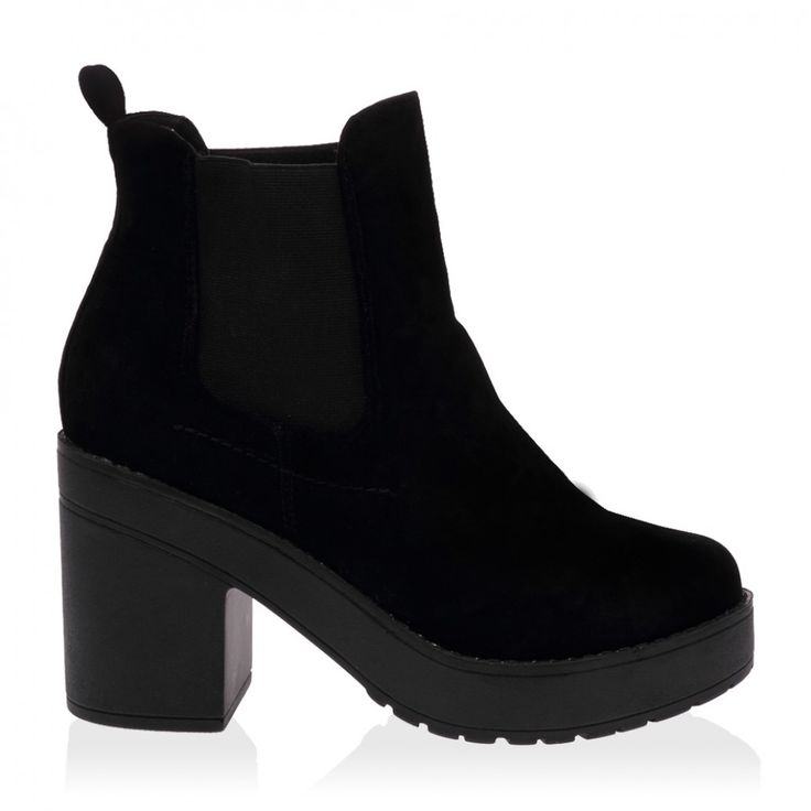 Quin Black Suede Block Heel Shoes