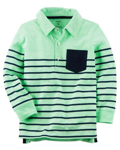 Kid Boy Long-Sleeve Striped Polo from Carters.com. Shop clothing & accessories from a trusted name in kids, toddlers, and baby clothes.