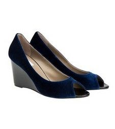 Robert Blue Velvet peep tie wedge heels