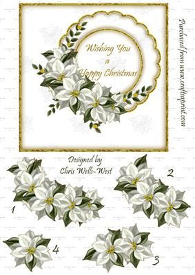 Poinsettia Greeting 6 x 6 on Craftsuprint - Add To Basket!