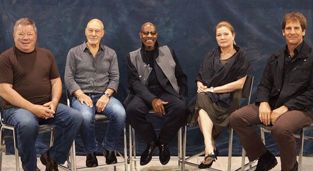 all five star trek captains together for the first time #geekgasm