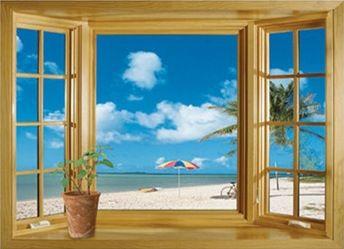 Бесплатная доставка Новое прибытие 3D Window Пейзаж Красивый вид На Море с Видом На Пляж стикер стены поддельные окна плакат стены декоративные сайт
