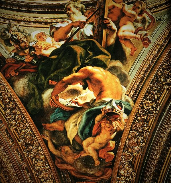 Baciccio,Giovan Battista Gaulli (1639 - 1709), was een Italiaans kunstschilder uit de periode van de barok. Gaulli was in Genua een leerling van Luciano Borzone. Zijn werk werd tevens beïnvloed door Rubens en Van Dyck. In 1657 trok hij naar Rome en werd een leerling van Bernini. In 1669 ging hij naar Parma en bestudeerde daar de fresco's van Correggio. Hij was een van de meest vooraanstaande frescoschilders van Rome. Tot zijn belangrijkste werken behoren de fresco's in de Sant'Agnese in…