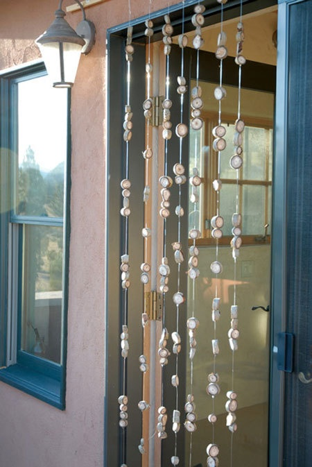 How to make a beaded wooden curtain  diy  Door curtains
