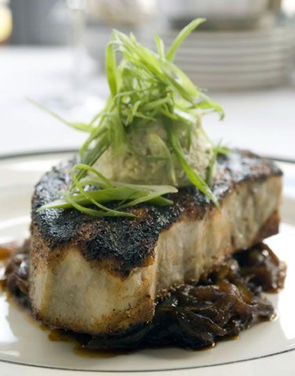 Blackened Swordfish Steak with Caramelized Onions   AmazingSeafoodRecipes