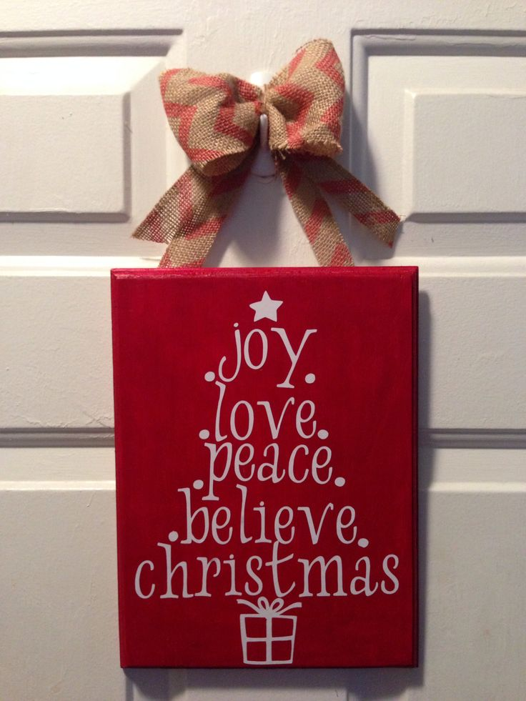 Cricut Christmas Craft Ideas Part - 16: Christmas Craft Idea: Painted Wood, Vinyl Lettering Done With Cricut, And A  Burlap