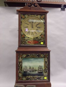 """Massachusetts Aaron Willard Style Mahogany and Reverse Painted """"Escape of the Constitution"""" (like in John Bellairs' """"The Spell of the Sorcerer's Skull""""?)"""