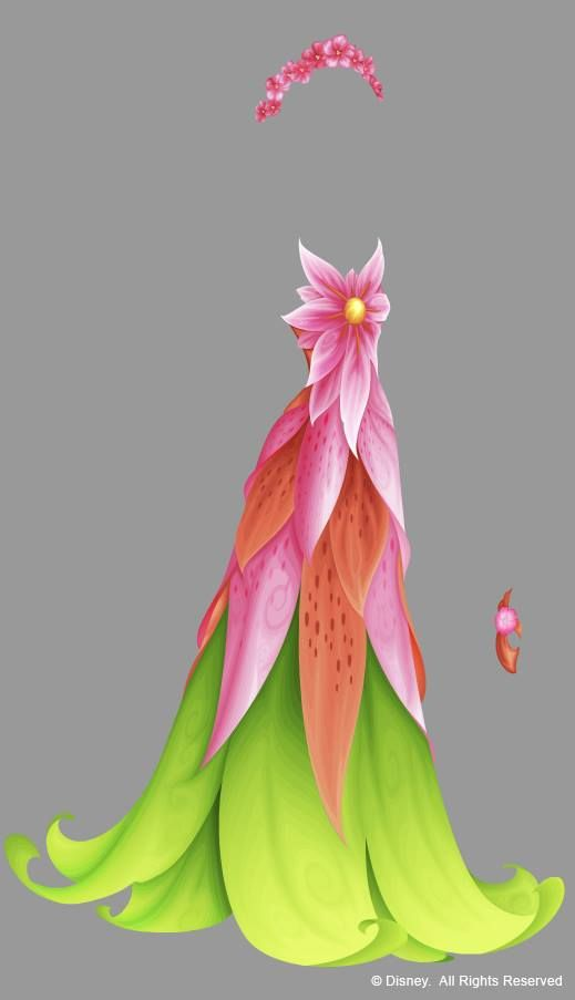 """Pixie Hollow dresses in vector; minister of Summer """"in her youth.""""  This is one of the last I did and a favorite of mine"""