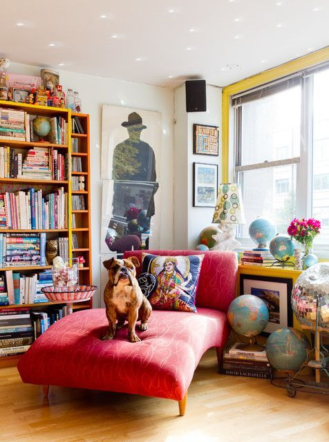 Cheap Chaise Lounge Living Room Eclectic with Bookshelves Bright Colors Collectibles Disco Ball Dog Eclectic Decor
