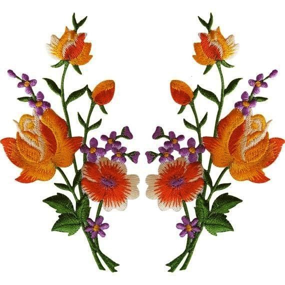 Embroidered Flower Patch Badge Iron on or sew