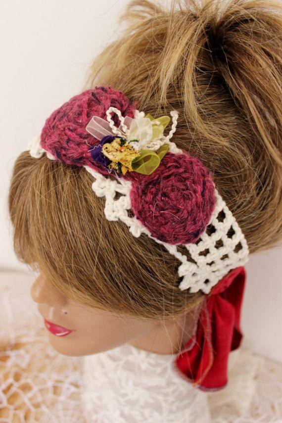 White Crochet headband White headband White by Nazcolleccolors