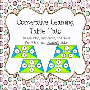 Table mats to aid in cooperative learning - in light blue, lime green, and black. Accommodates up to 5 students. Students each have their own number and can be split up into pairs using the A and B labels.