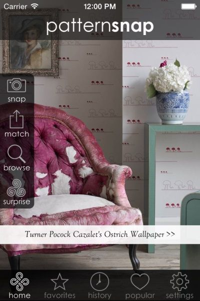 2.10.14 - Today's Featured pattern is Turner Pocock Cazalet's 'Ostrich' Wallpaper