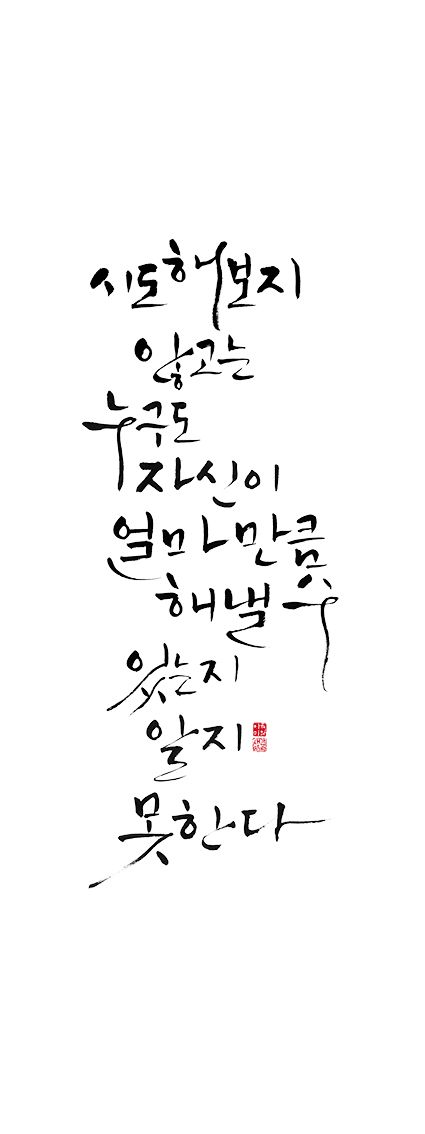 calligraphy_ 시도해보지 않고는 누구도 자신이 얼마만큼 해낼수 있는지 알지 못한다. _푸블릴리우스 시루스