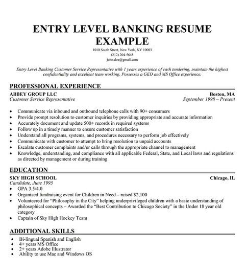 Entry Level Bank Teller Resume - http://topresume.info/entry-level-bank-teller-resume/