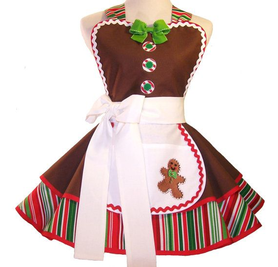 Christmas Apron, Gingerbread Apron, Gingerbread Man Apron