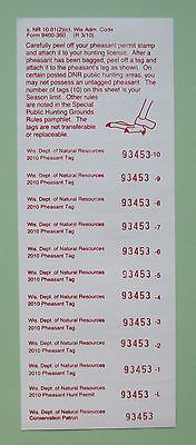 2010 Wisconsin Pheasant Hunting License Tags Stamp