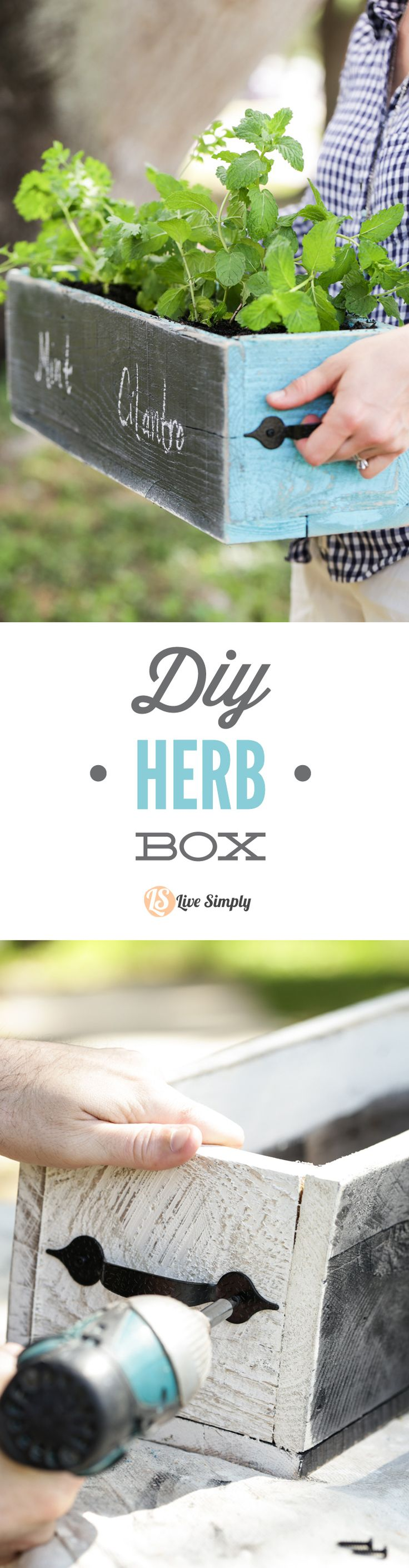 A DIY Herb Box you can make at home with easy tutorial instructional images. This shabby chic herb box is perfect for growing lettuce, leafy greens (kale, arugula, spinach), and herbs! Also makes an awesome Mother's Day gift. http://livesimply.me/2015/04/11/diy-herb-box/