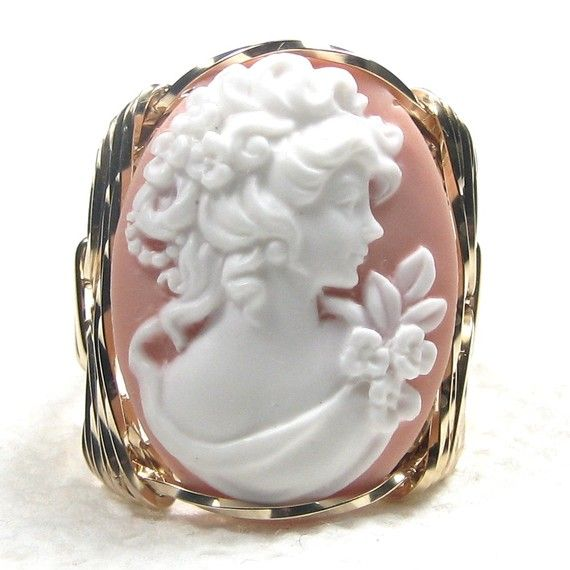 Grecian Goddess Cameo Ring 14K Rolled Gold by cameojewelryart,