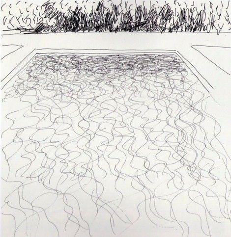 David hockney unknown on artstack david hockney art for Swimming pool sketch