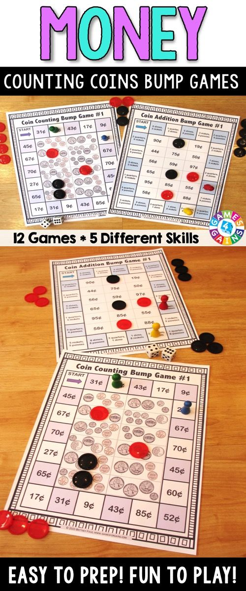 Counting Coins Bump Games contains 12 different money games to help students practice the following counting coins concepts: naming coins, identifying coin values, counting coins, and adding coins (Common Core 2.MD.C.8).