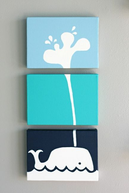 Three piece Whale Water Spout Wall Art. Cute! Could do other images this way - easy DIY