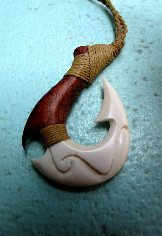 Fish hook necklace composite of koa wood and bone