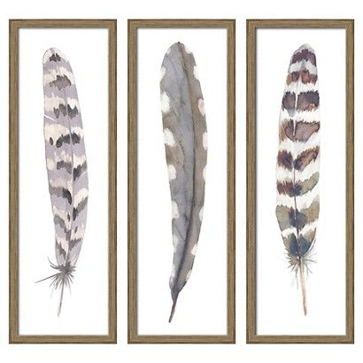 3-Pack Feathers 12x36 Framed Canvas