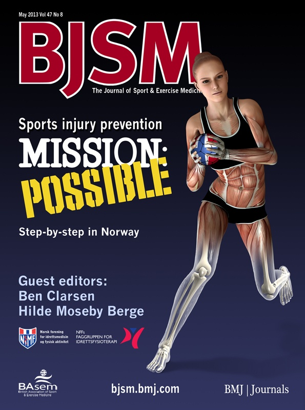"BJSM Volume 47 Issue 8 | May 2013 ~ Sports injury prevention MISSION: POSSIBLE Step-by-step in Norway.  ""Sports injury prevention: Mission Possible!"" ~ H Moseby Berge, B Clarsen"