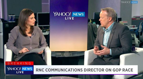On March 7, 2016, Republican National Committee Chief Strategist and Communications Director Sean Spicer joined Yahoo News and Finance Anchor Bianna Golodryga to talk about the state of the GOP race for president, the rise of Donald Trump ahead of another round of primary voting, and the passing of former
