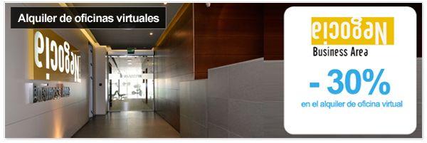 Alquiler de oficinas virtuales y espacios para empresas con Negocia Business Area - 30% de descuento